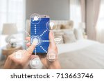 smart home automation app on... | Shutterstock . vector #713663746