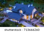 3d rendering of modern cozy... | Shutterstock . vector #713666260