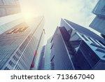 modern building at business... | Shutterstock . vector #713667040