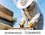 beekeeper working collect honey.... | Shutterstock . vector #713668453