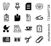 clip icons set. set of 16 clip... | Shutterstock .eps vector #713669728