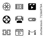 cinema icons set. set of 9... | Shutterstock .eps vector #713669764