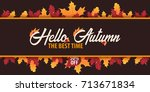 autumn background with leaves.... | Shutterstock .eps vector #713671834