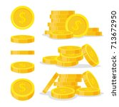 set coins stack vector... | Shutterstock .eps vector #713672950