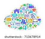 color social network icons in... | Shutterstock .eps vector #713678914