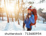 woman traveler with backpack... | Shutterstock . vector #713680954