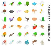 jungle icons set. isometric... | Shutterstock .eps vector #713684590