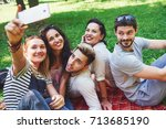 happy friends having fun... | Shutterstock . vector #713685190