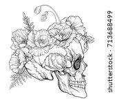 sugar skull with decorative... | Shutterstock .eps vector #713688499
