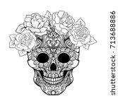 sugar skull with decorative...   Shutterstock .eps vector #713688886