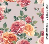 seamless pattern with roses.... | Shutterstock .eps vector #713689150