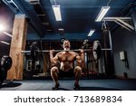 muscular strong fitness man... | Shutterstock . vector #713689834