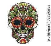 sugar skull. the traditional... | Shutterstock .eps vector #713690518