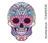 sugar skull. the traditional... | Shutterstock .eps vector #713690530