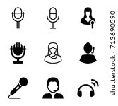 microphone icons set. set of 9... | Shutterstock .eps vector #713690590