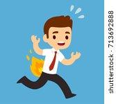 funny cartoon businessman... | Shutterstock .eps vector #713692888