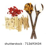 top view of chinese herbals... | Shutterstock . vector #713693434