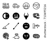 cartoon icons set. set of 16... | Shutterstock .eps vector #713695216