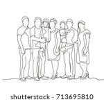 family sketch  outlines  lines | Shutterstock .eps vector #713695810