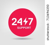 24 7 support vector icon. 24h...