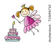 cute little fairy with cake ... | Shutterstock .eps vector #713696710