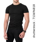close up of man in blank t shirt | Shutterstock . vector #713696818