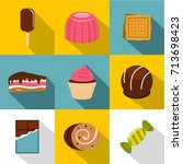 Sweet Food Icon Set. Flat Styl...