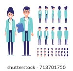 male and female doctors vector... | Shutterstock .eps vector #713701750