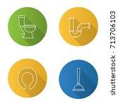 plumbing flat linear long... | Shutterstock .eps vector #713706103