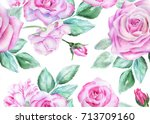 seamless floral pattern with... | Shutterstock . vector #713709160