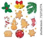 big set of glazed christmas... | Shutterstock .eps vector #713713774