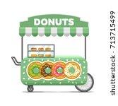 donat street food cart.... | Shutterstock .eps vector #713715499
