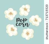 colorful popcorn items vector... | Shutterstock .eps vector #713715520