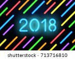 happy new year 2018. vector... | Shutterstock .eps vector #713716810