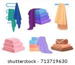 vector towels set. cloth towel... | Shutterstock .eps vector #713719630