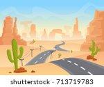 desert texas landscape. vector... | Shutterstock .eps vector #713719783