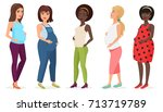 pregnant fashion set. happy... | Shutterstock .eps vector #713719789