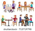 eating people set. couple... | Shutterstock .eps vector #713719798