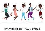happy group of african american ... | Shutterstock .eps vector #713719816