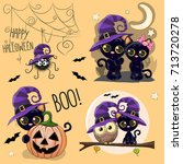 Stock vector set of cute halloween illustrations with owl black cat and spider 713720278