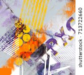 collage with typo elements and... | Shutterstock . vector #713722660