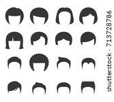 woman and man hair set. vector   Shutterstock .eps vector #713728786