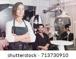 portrait of smiling woman... | Shutterstock . vector #713730910