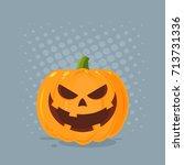 grinning evil halloween pumpkin ... | Shutterstock . vector #713731336