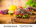 vegan burger or sandwiches with ... | Shutterstock . vector #713731744