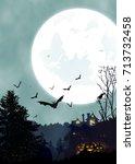 halloween vertical background...   Shutterstock .eps vector #713732458