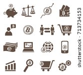 set of vector bitcoin and... | Shutterstock .eps vector #713734153