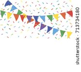 colorful party flags with... | Shutterstock .eps vector #713734180