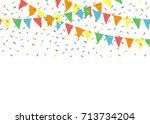 colorful party flags with... | Shutterstock .eps vector #713734204