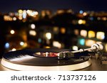 turntable vinyl record player... | Shutterstock . vector #713737126